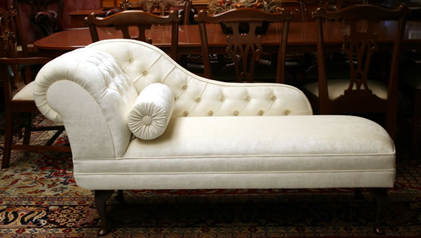Chaise Longue in Ivory Faux Silk Velvet