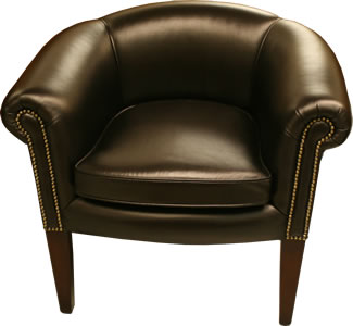 Plain Back Black Leather Tub Chair