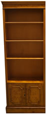 Double Open Bookcase Unit with Cupboard Base