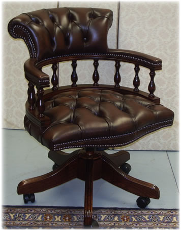 Captains Swivel Desk Chair In Chestnut/Brown Leather Mahogany With Button  Seat