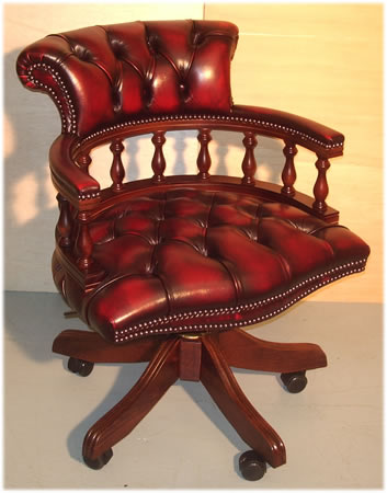 Pleasant Mahogany Captains Desk Chair In Red Leather A1 Furniture Uwap Interior Chair Design Uwaporg