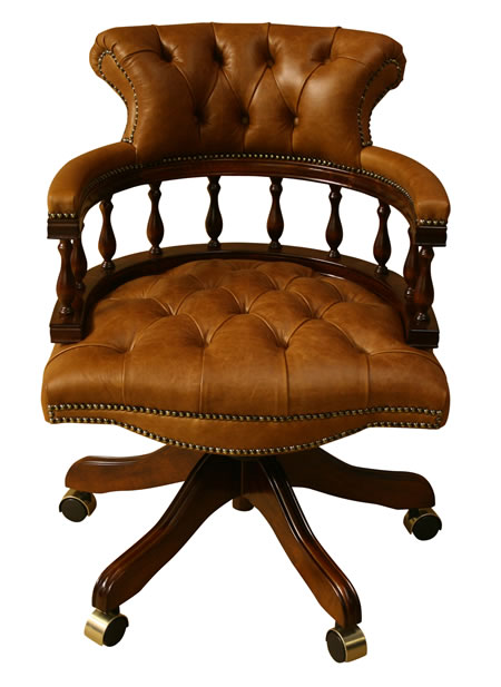 Captains Chair in Mahogany finish and Bruciato Leather