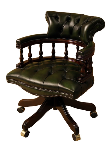 Captains Chair in Mahogany finish with Green Antique Leather - Captains Chair - Leather Yew And Mahogany Reproduction Desk Chairs