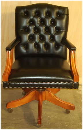Gainsborough Swivel Desk Chair in Black Leather Yew with Plain Seat - View 1