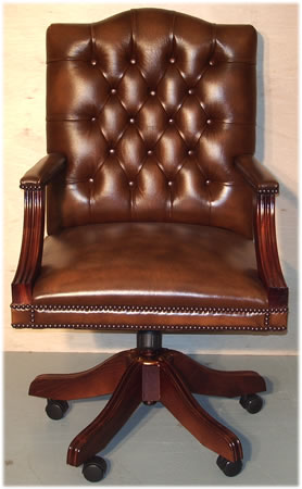 Gainsborough Swivel Desk Chair in Tan Leather Mahogany with Plain Seat