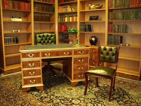 Combination Bookcases and Pedestal Desk in Burr Elm with Leather Chairs