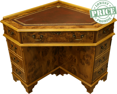 - Yew And Mahogany Reproduction Corner Desks - A1 Furniture