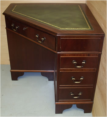 Mahogany Corner Desk with Gold Tooled Leather Top