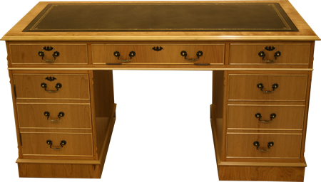 Natural Cherry Pedestal Desk with Leather Top - Reproduction Desk
