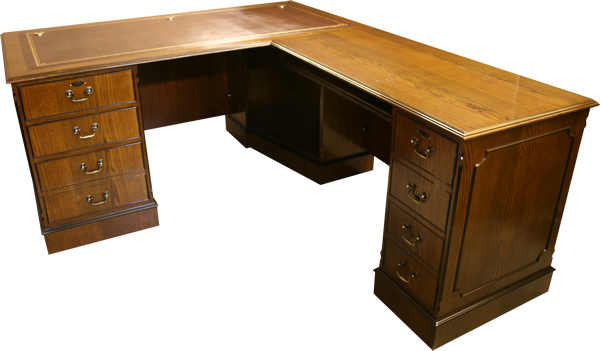 Reproduction L-Shaped Desk with Leather Top