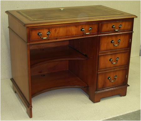Single Pedestal Computer Desk with Leather Top