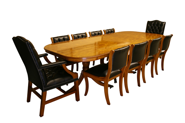 "8'8"" Dining Table in Yew with Gainsborough and Enfield Chairs"