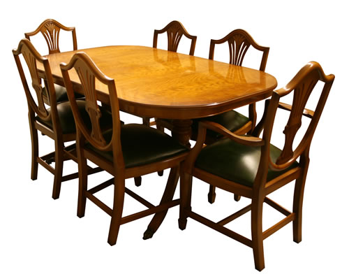 Dining Table and Wheatear Shield Back Dining Chairs