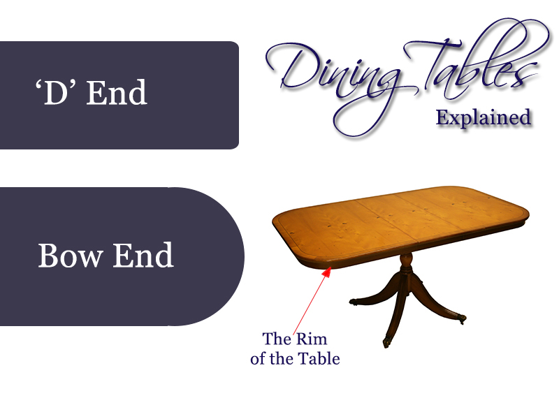 Reproduction bow end d end dining tables