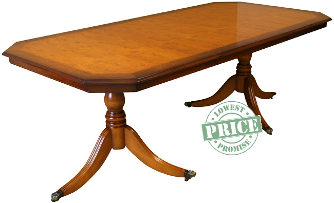 INDT 3 66 Inadam Dining Table In Mixed Finish Yew With Tulip Inlay And Curl Mahogany Cross Banding