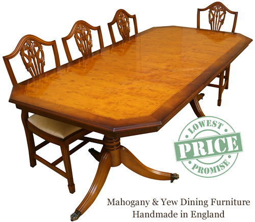 Reproduction Dining Tables In Yew And Mahogany