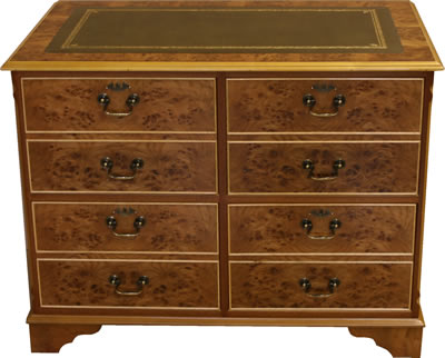 4 Drawer Reproduction Filing Cabinet in Burr Elm