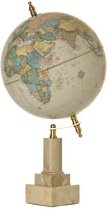 Globe  on Marble Base with Brass Fittings