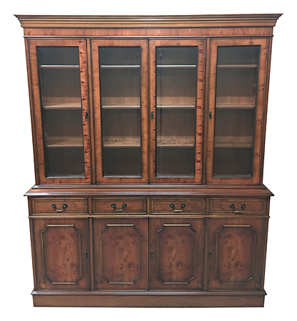 Reproduction Library Bookcase Mahogany Yew