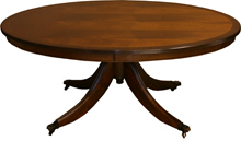 oval reproduction tables yew mahogany