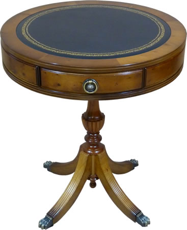 Leather top reproduction drum table