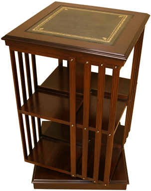 reproduction leather top revolving bookcase