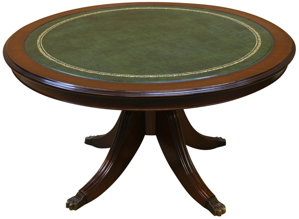 Leather top reproduction round and oval coffee tables mahogany yew a1 furniture Coffee table with leather top