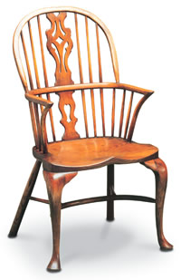 georgian double bow windsor chair with cabriole leg