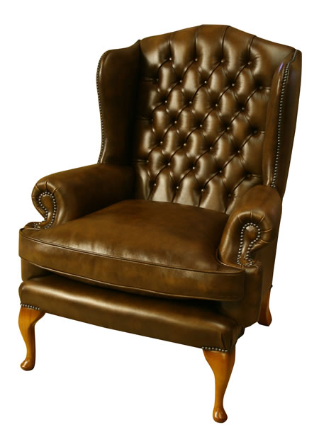 Royal Wing Chair in Yew finish with Brown Leather