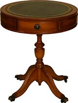 Leather topped drum table